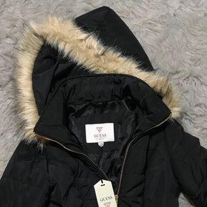 Guess puffer coat with fur trim hood